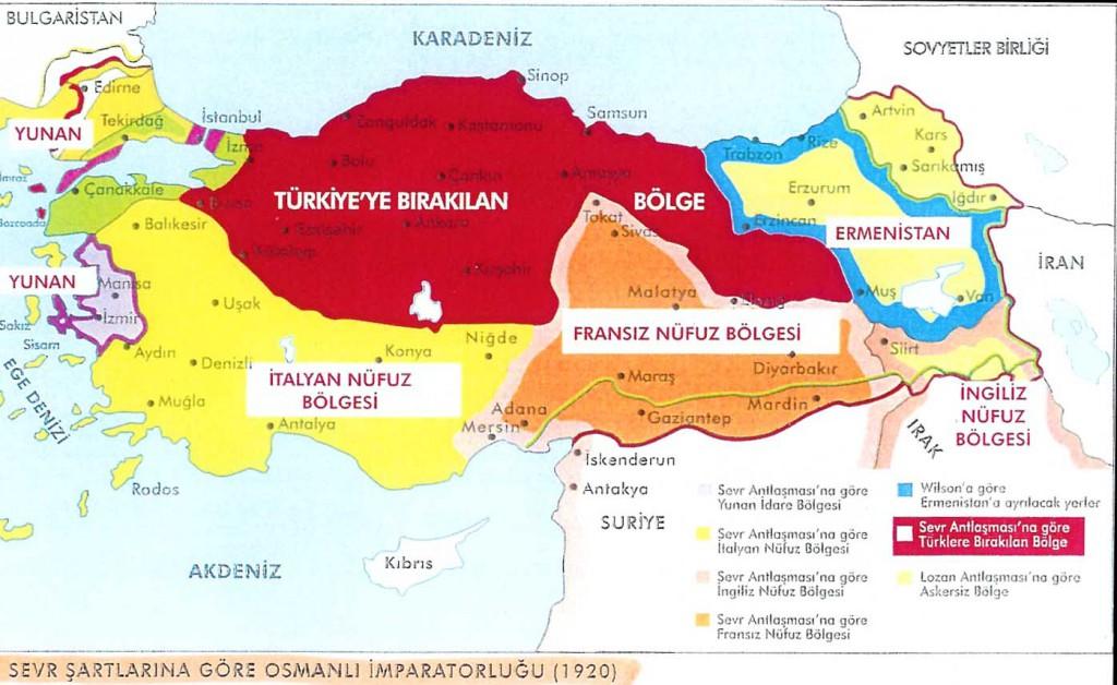 Sevr antlaşma haritası