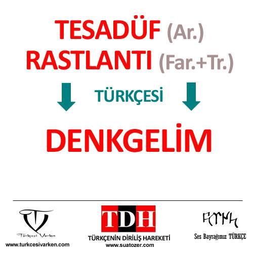 Türkçe'nin Diriliş Hareketi örneği : tesadüf, rastlantı, denkgelim