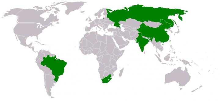BRICS üyesi ülkeler haritası