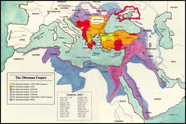 Ottoman terrory, Osmanlı sınırları haritası