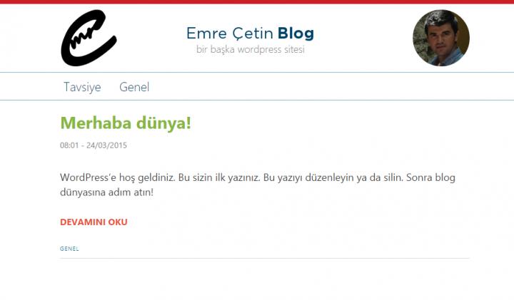 Emre Çetin Blog minimalist (sade) tema