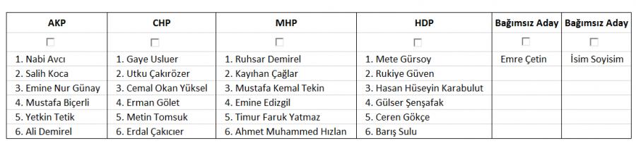 2015 ulusal seçimlerde kapalı oy pusulası örneği Eskişehir