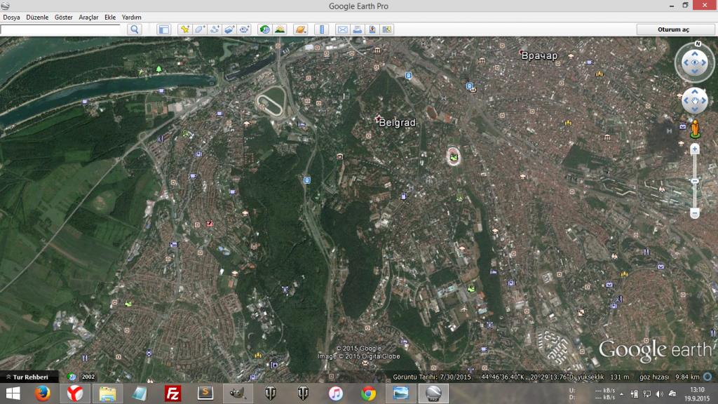 Belgrad, harita görüntüsü ve yeşillik