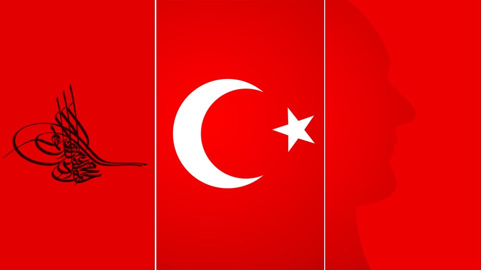 Osmanlı Tuğrası Türk Bayrağı ve Atatürk