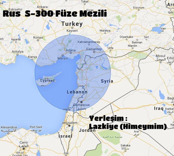 s300 füze menzili Lazkiye (Suriye) Türkiye