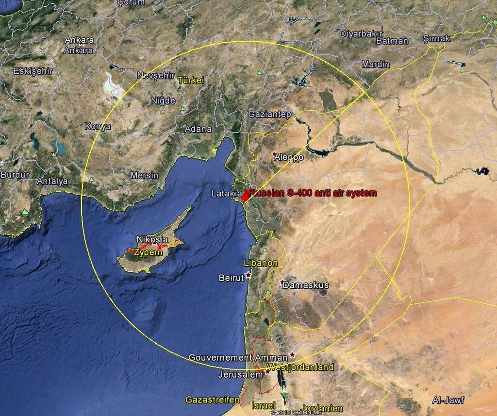 Suriye'de lazkiye üssüne konulacak s400 menzili