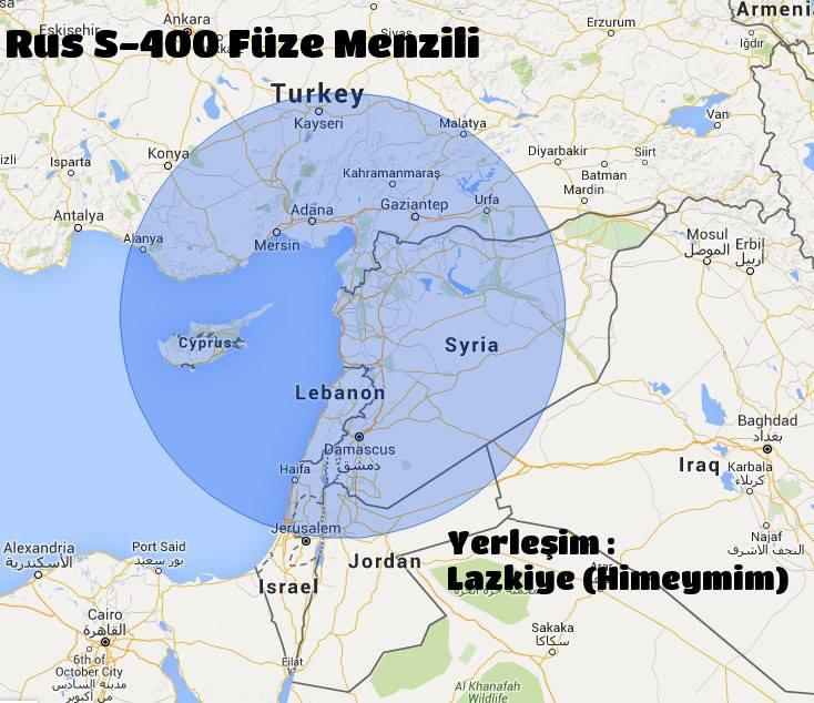 s400 füze menzili Lazkiye (Suriye) Türkiye