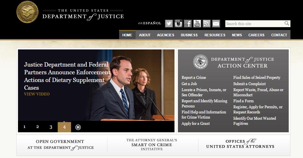 Amerikan Adalet Bakanlığı sitesi, renkleri ve anlamları.