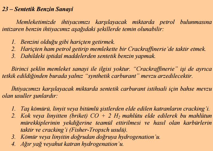 Atatürk ve biyoyakıt, ikinci 5 yıllık kalkınma planı ve sentetik benzin