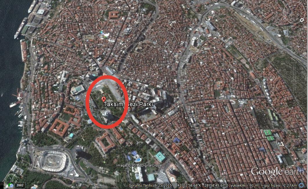 Taksim Gezi Parkı havadan (uydu) görüntüsü