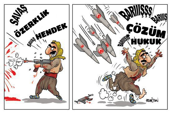 terör örgütünün ve destekçilerinin savaş ve barış zamanındaki davranışları