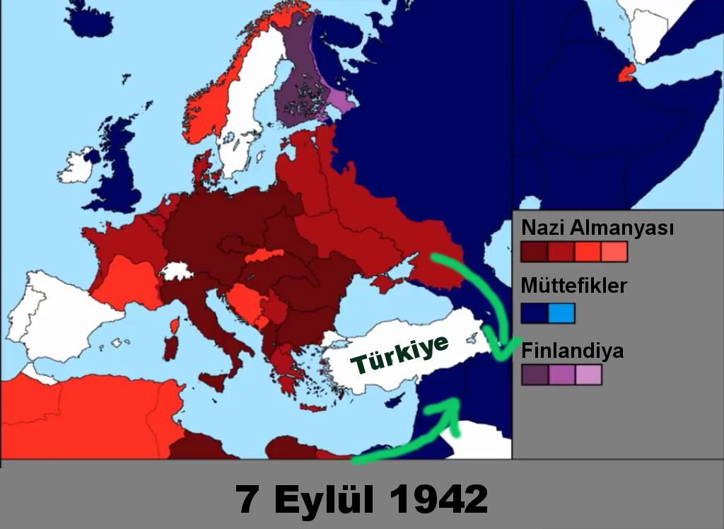 1942 savaş haritası Afrika Türkiye Bakü Sovyetler ve Nazi