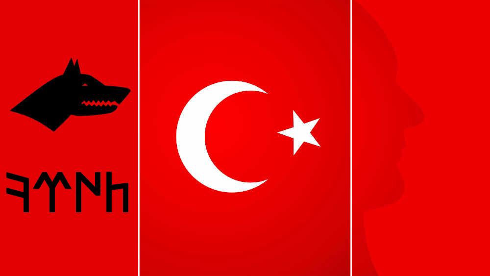 gokturkce turk bayrağı ve atatürk