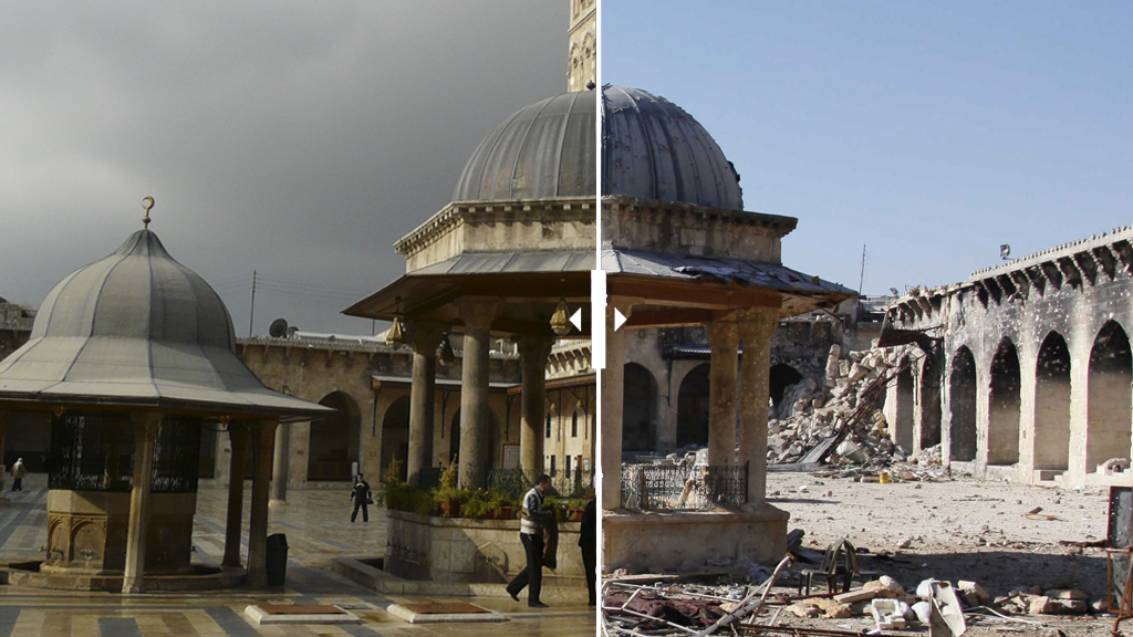 A general view of damage in the Umayyad mosque of Old Aleppo, December 15, 2013. REUTERS/Molhem Barakat (SYRIA - Tags: POLITICS CIVIL UNREST CONFLICT RELIGION) - RTX16JX2